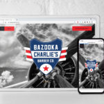 BazookaCharlies.com website is shown on a tablet and a smart phone against a white brick backdrop