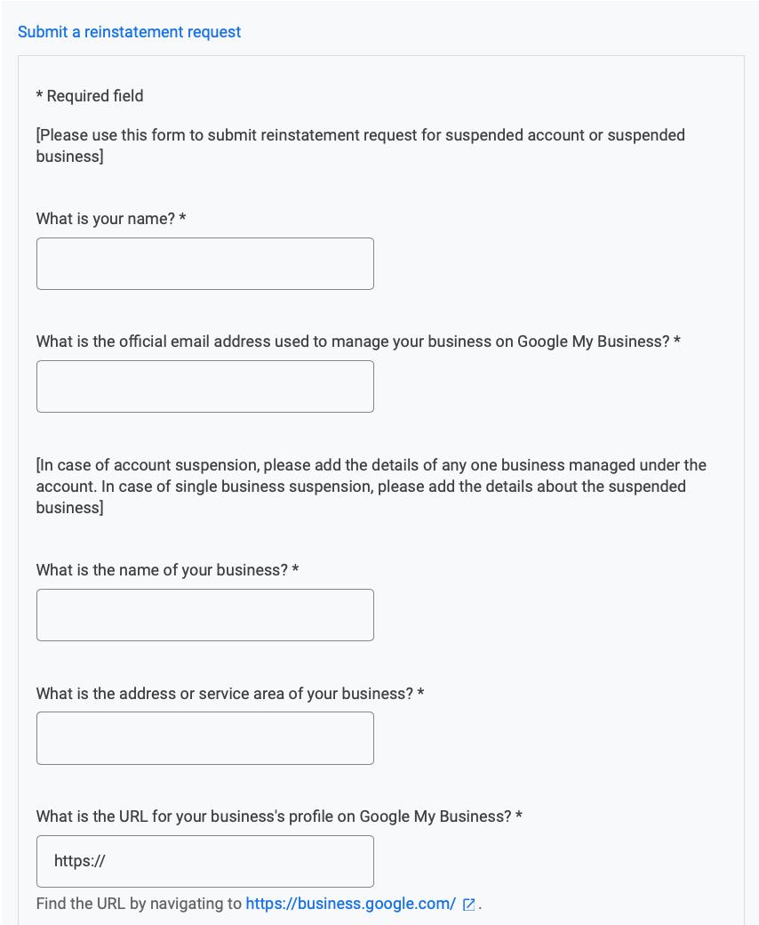 Google My Business Reinstatement Form